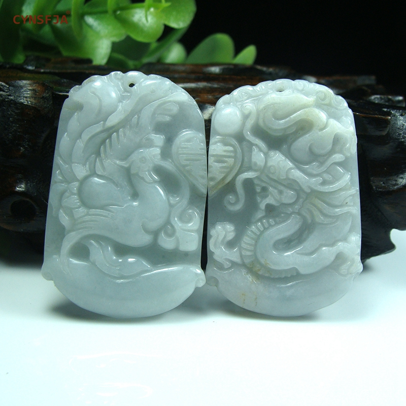 Certified Natural Grade A Burmese Jadeite Emerald Charms Lucky dragon phoenix Jade Pendant One Pairs Wonderful Birthday GiftsCertified Natural Grade A Burmese Jadeite Emerald Charms Lucky dragon phoenix Jade Pendant One Pairs Wonderful Birthday Gifts
