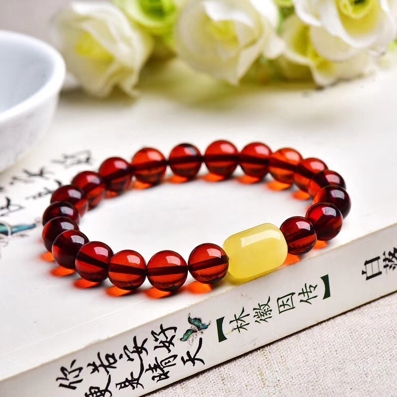 Certificate Natural Blood Red Amber Round Beads Bracelet Women Party Gift Stretch Yellow Amber Barrel Bracelet 9.5mm JewelryCertificate Natural Blood Red Amber Round Beads Bracelet Women Party Gift Stretch Yellow Amber Barrel Bracelet 9.5mm Jewelry