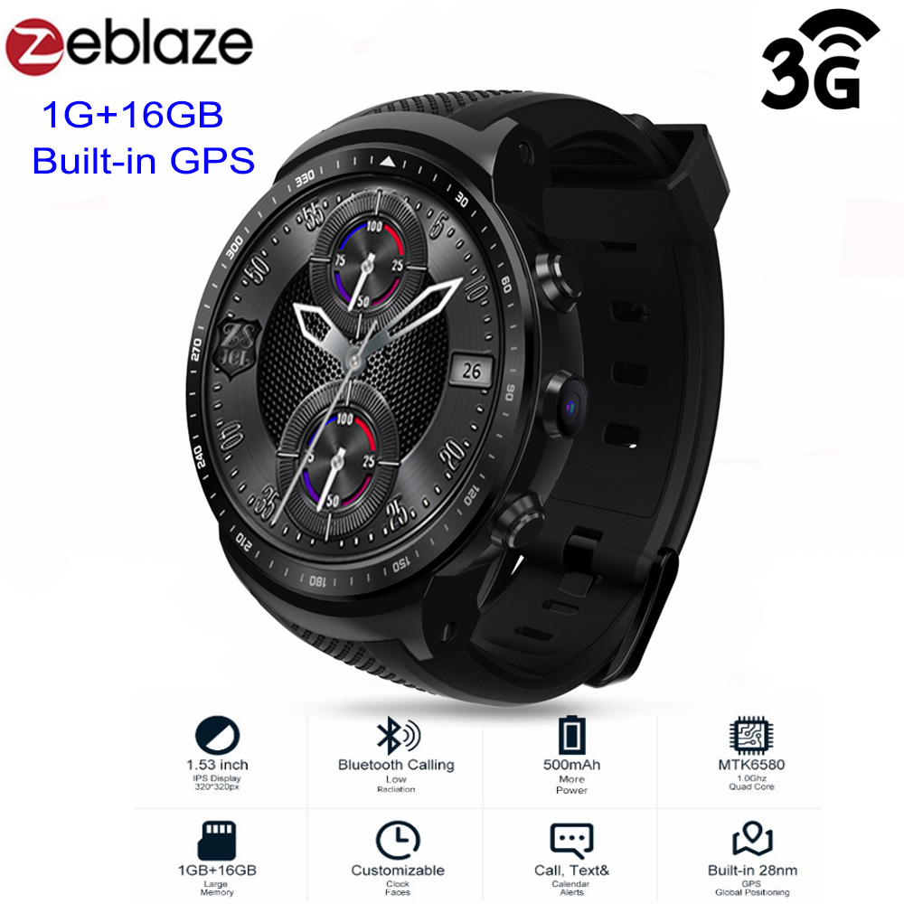 Zeblaze THOR PRO 3g Android Smartwatch Uomini MTK6580 Vigilanza di Sport 1 gb 16 gb GPS Dello Schermo di Tocco di Bluetooth android usura Smart vigilanza degli uomini