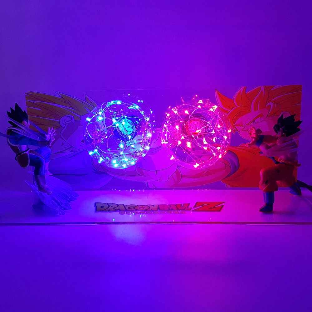Dragon Ball Z Action Figures Goku vs Vegeta Led Figurine Toy DBZ Anime Dragon Ball Super Kamehameha Collection Model Toys dragon ball z action figures son goku vs evil vegeta super saiyan anime dragon ball light model toy dbz bulb base