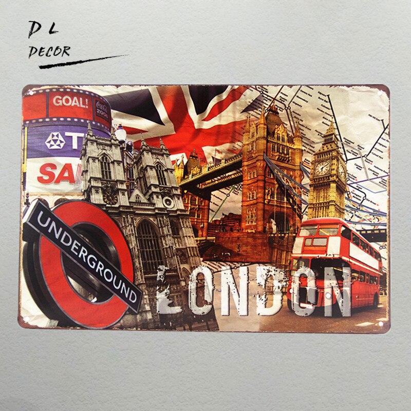 The LONDON decor city metal poster art wall decor Bar pub home Wall Decor Retro iorn painting J-20