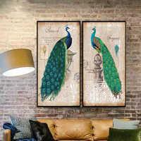 TOP Vendita 2 Piecest/Set Animale serie di poster di serie della Tela di Canapa Pittura Sitting Room Decorazione di Stampa Su Tela di Immagini Senza Framde