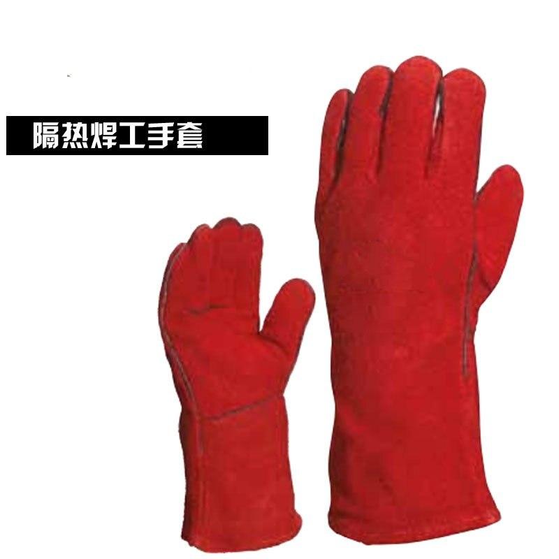 Thermal insulation leather welding gloves welding flame retardant metal splash flame cotton lining