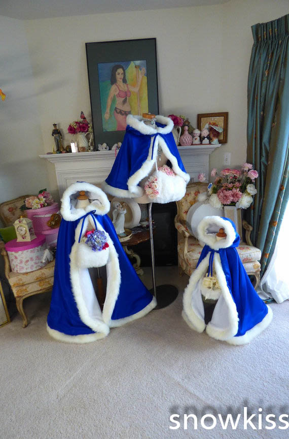 2016 haloween Long Floor length Royal Blue / White Satin Flower Girl Cape Wedding Cloak with fur trim  junior bridal bolero long flower girl cape winter princess junior bridesmaid cape wedding cloak with fur trim with hand warmer for communion dress