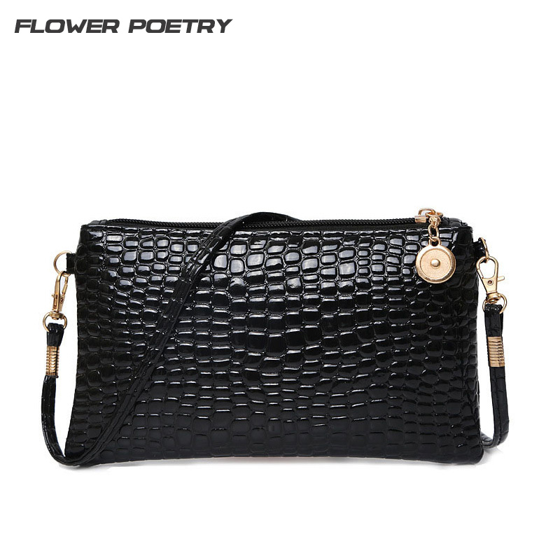 Women Simple Style PU Leather Small Shoulder Crossbody Bag Black Crocodile Clutch Pouch Bags Ladie Evening Party Handbags Bolsos