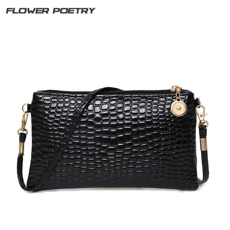 Women Simple Style PU Leather Small Shoulder Crossbody Bag Black Crocodile  Clutch Pouch Bags Ladie Evening 9b0a5d6f8cae2