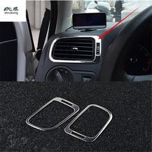2 шт./лот, наклейки для автомобиля, нержавеющая сталь, передняя сторона, на обе стороны, кондиционер, на выходе, украшение для 2011- Volkswagen VW POLO