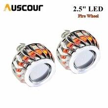 2.5 inch mini Bi xenon hid Projector lens with Fire wheel angel eyes shrouds H1 H4 H7 car headlight Headlamp car assembly Modify