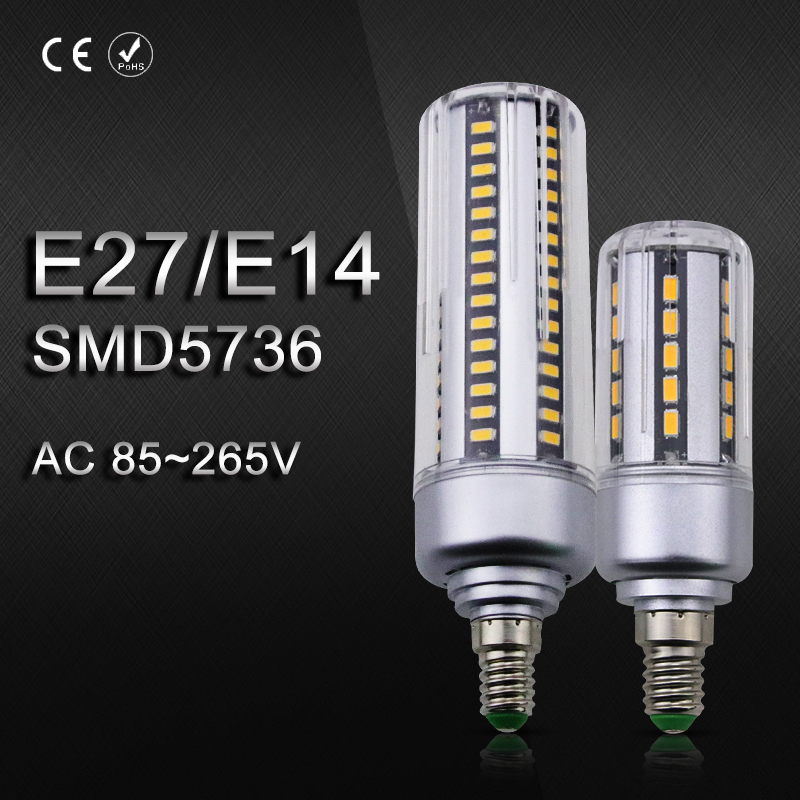 SMD 5736 E14 LED Bulb 220V 110V LED Lamp W27 24 36 42 54 60 78 96leds No Flicker Lights 5W 7W 9W 12W 15W 18W 20W Corn Bombillas