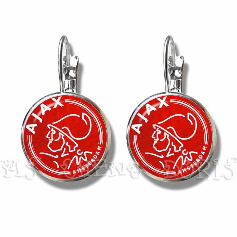 Futbol Kulübü 16mm Cam Cabochon Küpe Ajax PSV Futbol Ligleri Logo Futbol Kulübü düğme küpe Hayranları Için Hediye