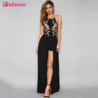 Sexy Backless Beach Long Dress Black White Blue Flower Embroidery Party Dresses Women Split Maxi Boho