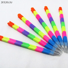 1 PCColorful Stacker Swap 8 Color Section Building Block Non-sharpening Pencil Multifunction Pencil for Office Stationery