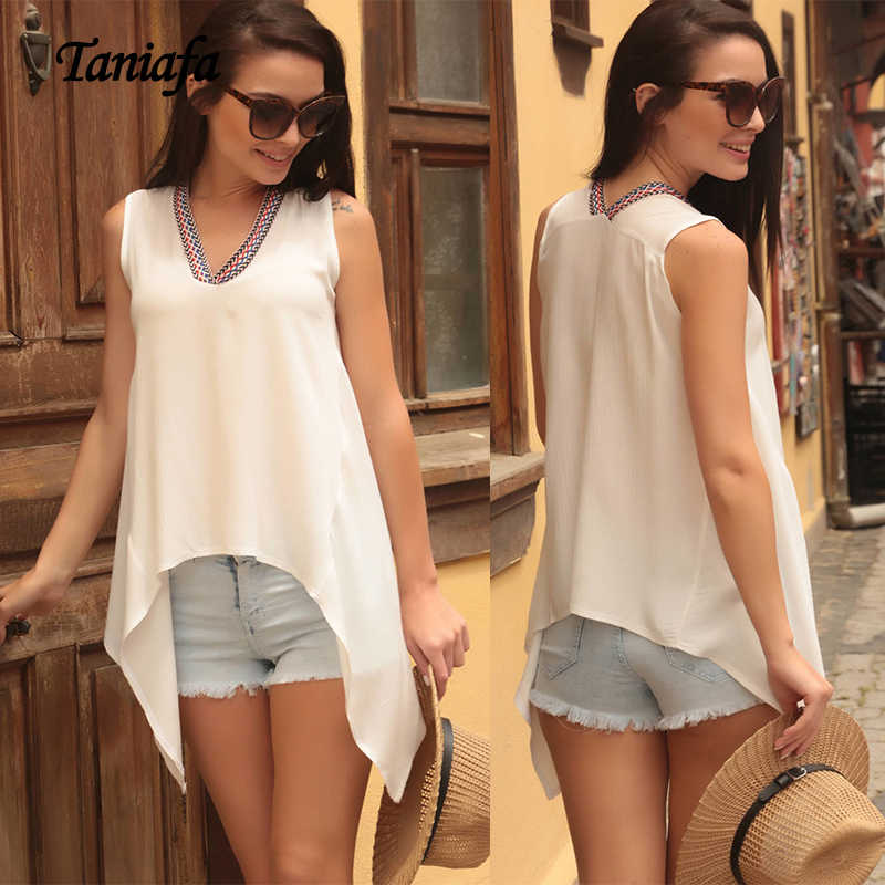2019 nueva moda señoras cuello en V sin mangas Camisas Casual verano suelto Color sólido Tops blusa talla grande