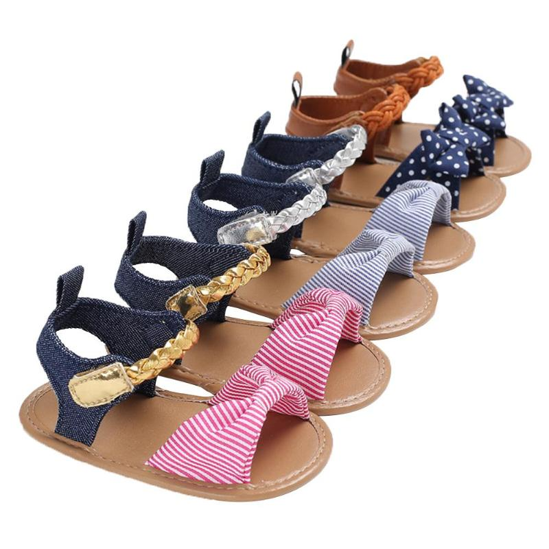 Summer Baby Girls Denim Anti-Skid Sandals Infants Soft Buttom Sandals Casual PU Breathable Summer Shoes 2018 New