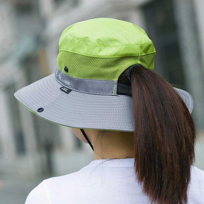 UPF 50 Bucket Sun Hat Summer Women Men Fishing Hats UV Protection Wide Brim Bob Hiking Cap Outdoor Waterproof Mesh Camping Caps in Men 39 s Sun Hats from Apparel Accessories