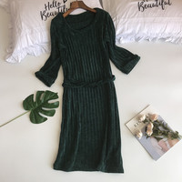 Winter Women Long Sleeve Nightdress Loose Warm Home Wear Sweet O Neck Sleepwear Negligee Elegant Solid Princess Nightgown M XL