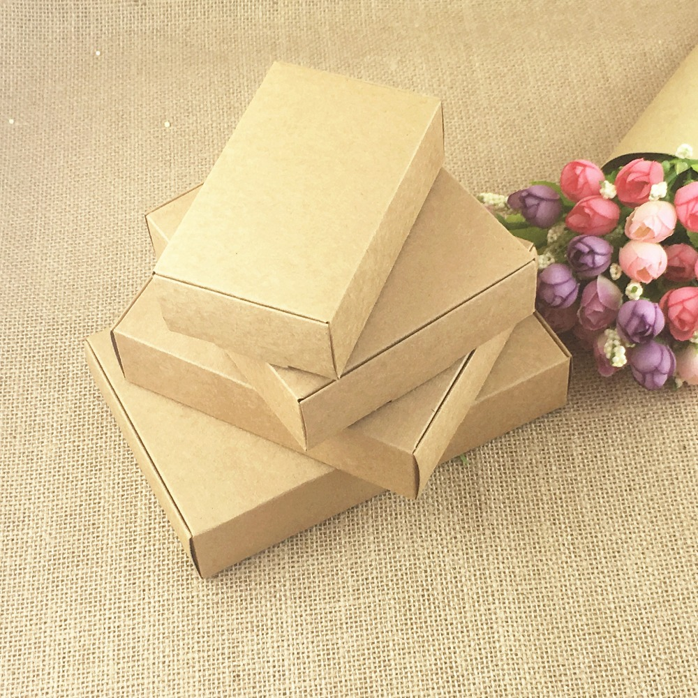 24pcs/lot Brown Kraft Craft Paper Jewelry Pack Boxes Small Gift Box For Biscuits Handmade Soap Wedding Party Candy Packaging Box