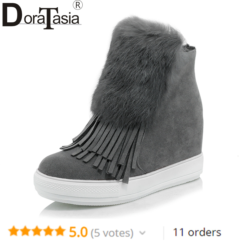 DoraTasia large Size 32-45 Women Ankle Boots Fringe Round Toe With Fur Platform Shoes Woman Hidden Wedge high heels Winter Boots hidden wedge platform fuzzy boots