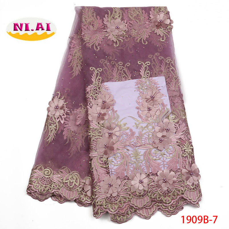 2019 New style French net lace fabric 3D flower African tulle mesh lace fabric high quality