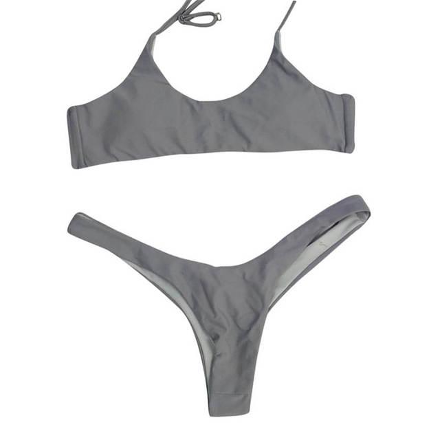 S ~ XXL 2018 New Sexy kobiety Bandeau bandaż Bikini Set push-up brazylijskie stroje kąpielowe kostium kąpielowy strój kąpielowy 5 kolory Dropshipping może #5 tanie i dobre opinie Macierzyństwo WOMEN Poliester Stałe Tankini zestaw Swimwear Natural color TELOTUNY