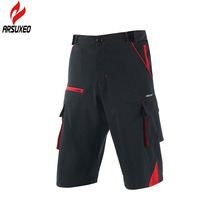 ARSUXEO 2017 New Men's Cycling Shorts Outdoor Sports Mens Bicycle Downhill MTB Shorts Mountain Bike Shorts with Zipper Pockets arsuxeo men s outdoor sports cycling shorts downhill mtb shorts protective padded shorts for skiing snowboarding