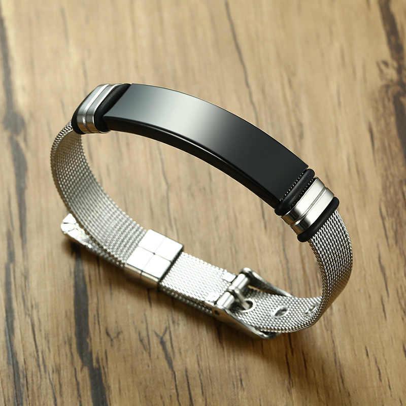 Pulsera meaguet personalizada pulsera de malla deslizante para hombre pulsera de plata personalizada con nombre pulsera de acero inoxidable para hombre Bileklik Pulseira