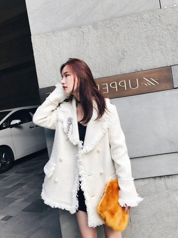 S5268 Tassel 2018 Femmes Élégant Noir blanc Tweed Automne Manteau Fringe Survêtement Blanc Dames Tricoté Vestes Noir Blazer Hiver Perles Lâche 0pwTq0F