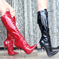 Star Style Women Fashion 18cm High-heeled Motorcycle Boots Thin Heels High-leg Boots Sexy Patent Leather Dance Boots Size 35-46