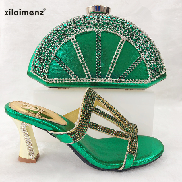 2019 New Arrival Green Color Italian Women Matching African Shoes and Bag Set Decorated with Rhinestone  Ladies Shoe and Bag