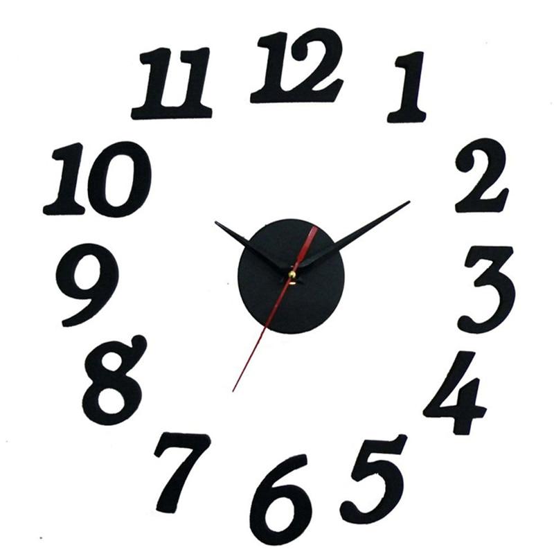 3D שחור דבק עצמי שעון קיר שעון עגול שעון חדר השינה מטבח קיר מדבקות עיצוב מודרני Home Decor
