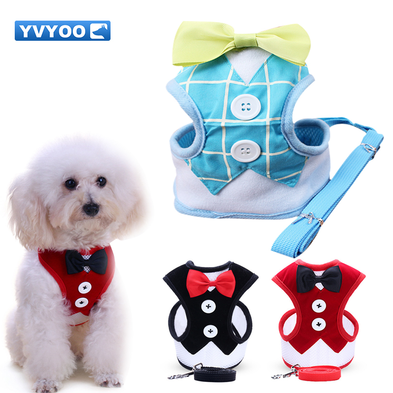 Dog Collars & Leads Yvyoo Pet Dog Harness Nylon Mesh Puppy Vest Breathable Pet Walking Harnesses And Leash Set Elegant Bow Tuxedo For Small Dog A201 Vivid And Great In Style Harnesses