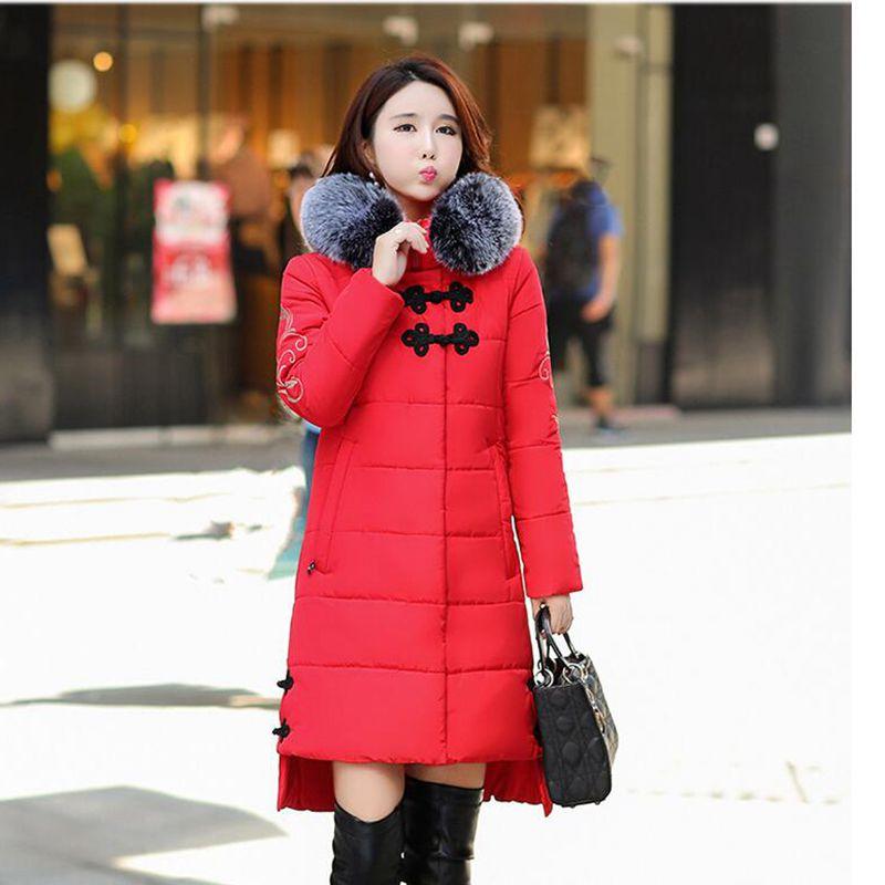 De Red black Fashion À Manteau army Lâche Fourrure Nzyd815 Femelle Coton Style Femmes Occasionnel Chaud Parkas Greem Capuchon Épais Moyen long Veste Nouvelle Col 2018 Hiver n74xvwXBqp