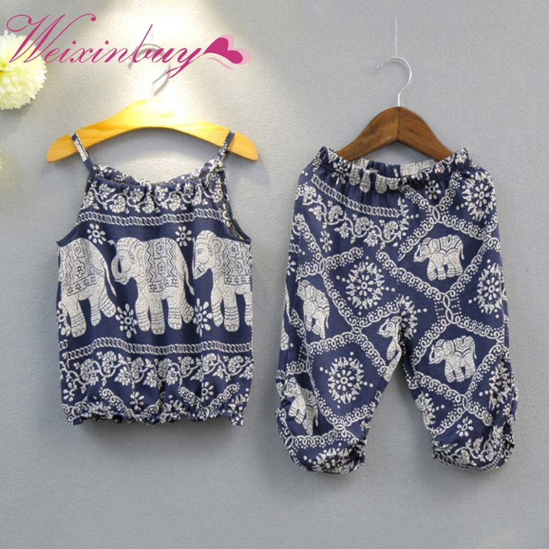 Fashion Baby Gilrs Clothes Sets Summer Elephant Printed Spaghetti Strap Top+Printed Pants Suits ...