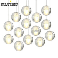 Modern LED Crystal Chandelier Lights Fixtures Magic Crystal Ball Lustre Loft Stairwell Crystal Light Meteor Shower
