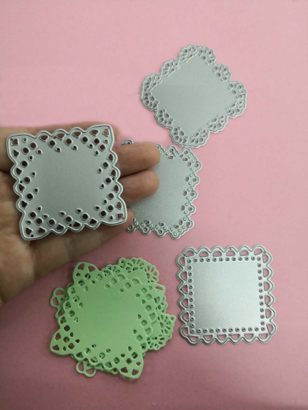 4Pcs Mini Doily Square Die For 2019 Valentines Day Metal Cutting Dies Scrapbooking Craft cut Card making diy 50*50mm