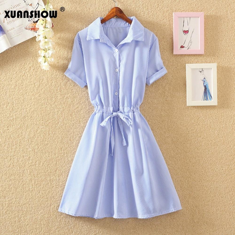 XUANSHOW letní šaty pro ženy Nový módní proužek Neformální Slim V-neck Krátký rukáv Pruhované Šaty Vestios