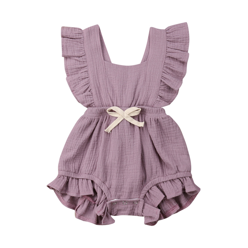 Color Solid Ruffles Backcross Bodysuit Outfits Newborn Infant Baby Girls Bowknot Ruffle Solid Color Baby Clothing
