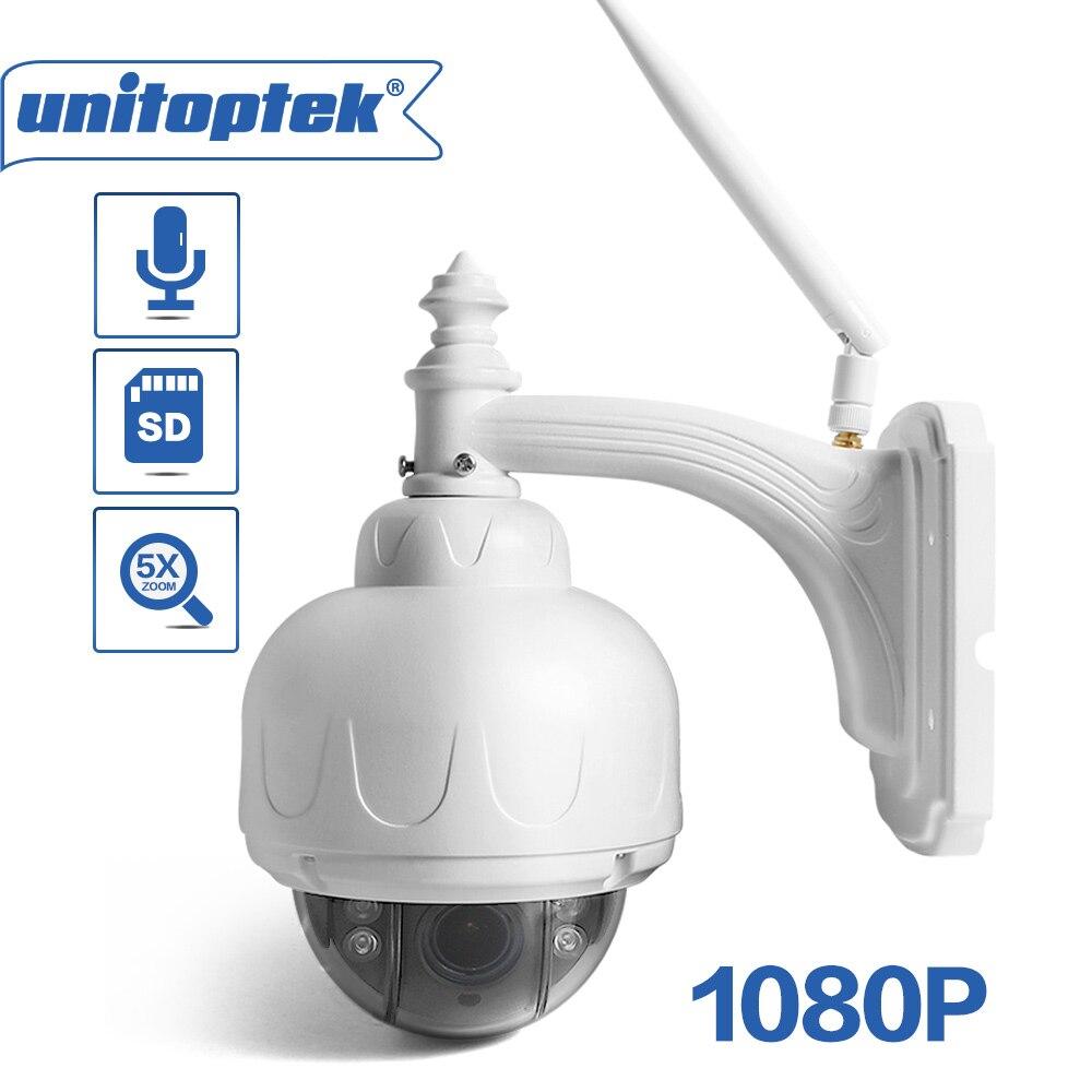 Sans fil IP Speed Dome Caméra Wifi HD 1080 p PTZ Extérieure Sécurité CCTV 2.7-13.5mm Mise Au Point Automatique 5X zoom SD Carte ONVIF Wi-Fi Caméras
