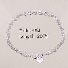 Горячая Распродажа 4 мм 925 Ювелирный посеребренный ювелирный браслет изящный модный браслет высшего качества опт и розница подарок для женщин