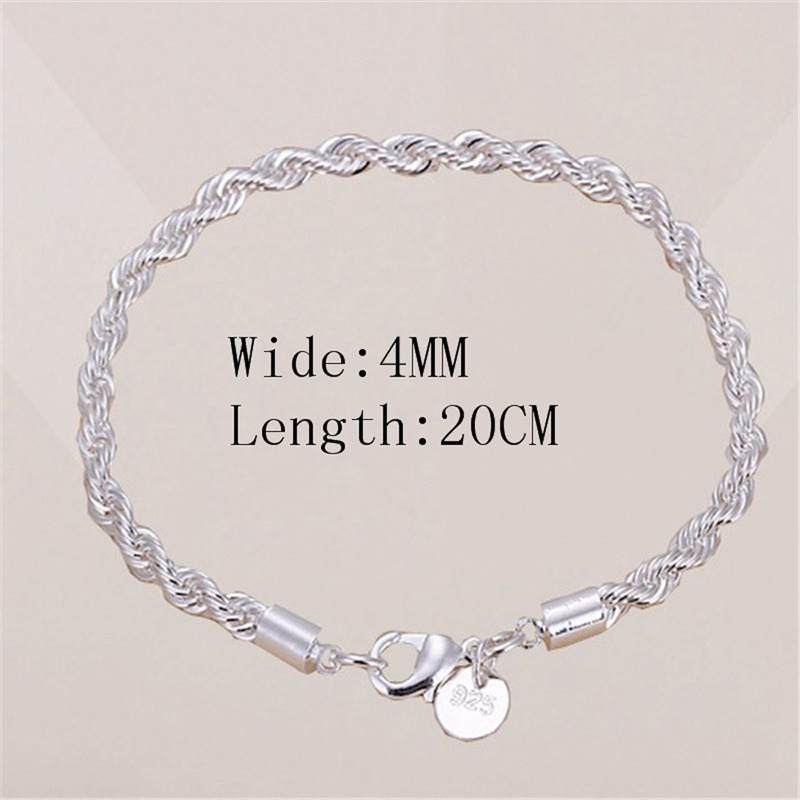 Hot Sale 4mm 925 jewelry silver plated jewelry bracelet fine fashion bracelet top quality wholesale and retail Gift for women