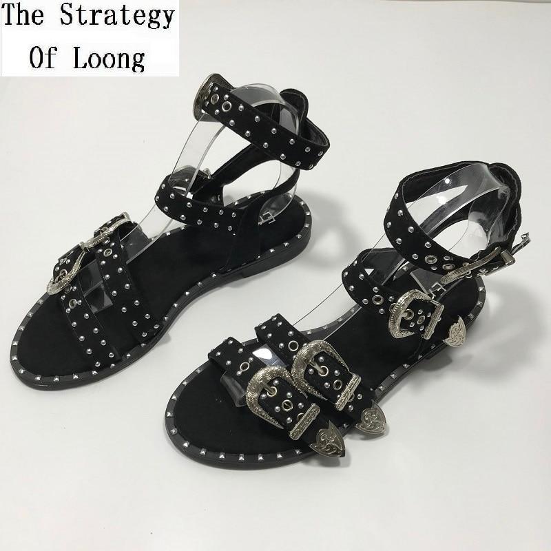Women Sandals Shoes Buckle Rivets Back-Strap Ankle-Wrap Flat-Heels Open-Toe Summer Lady