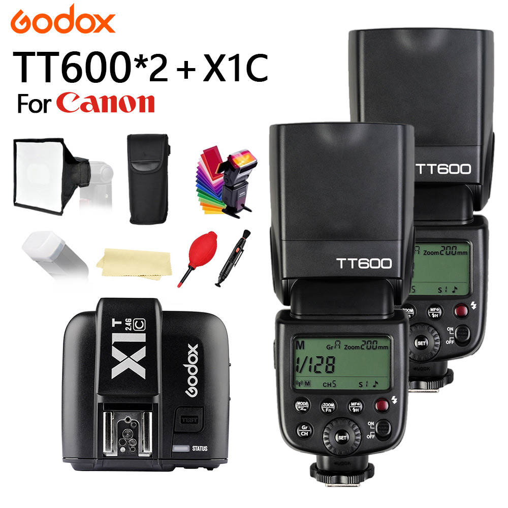 2X Godox TT600 With TTL HSS Flash Speedlite for Canon 1100D 1000D 7D 6D 60D 50D 600D Camera + X1T-C Trigger + 15*17 softbox godox v860iic v860iin v860iis x1t c x1t n x1t s hss 1 8000s gn60 ttl flash speedlite 2 4g transmission godox softbox filter