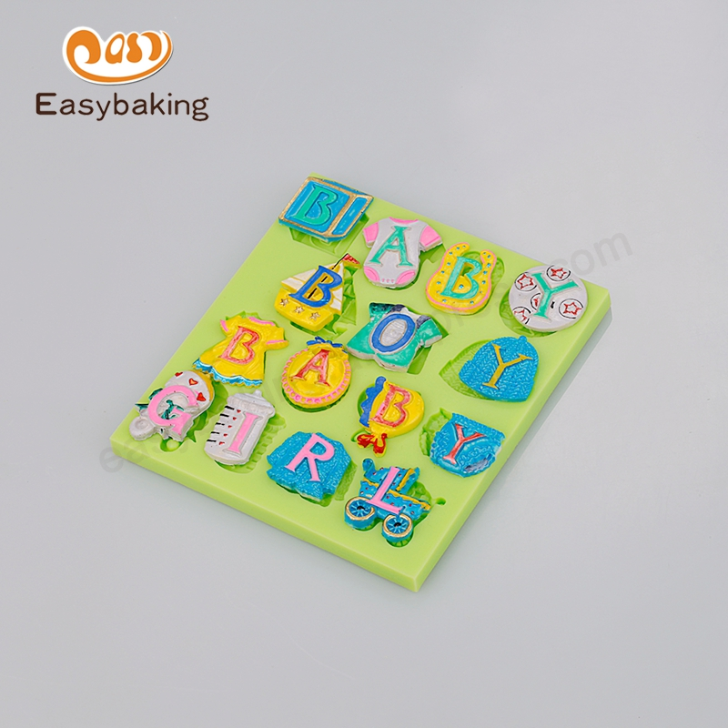 Alat Baking Baby Letter Dimensional Cake Topper Baby Shower Silicone Fondant Mold untuk Cake Decorating Sugar Chocolate Clay