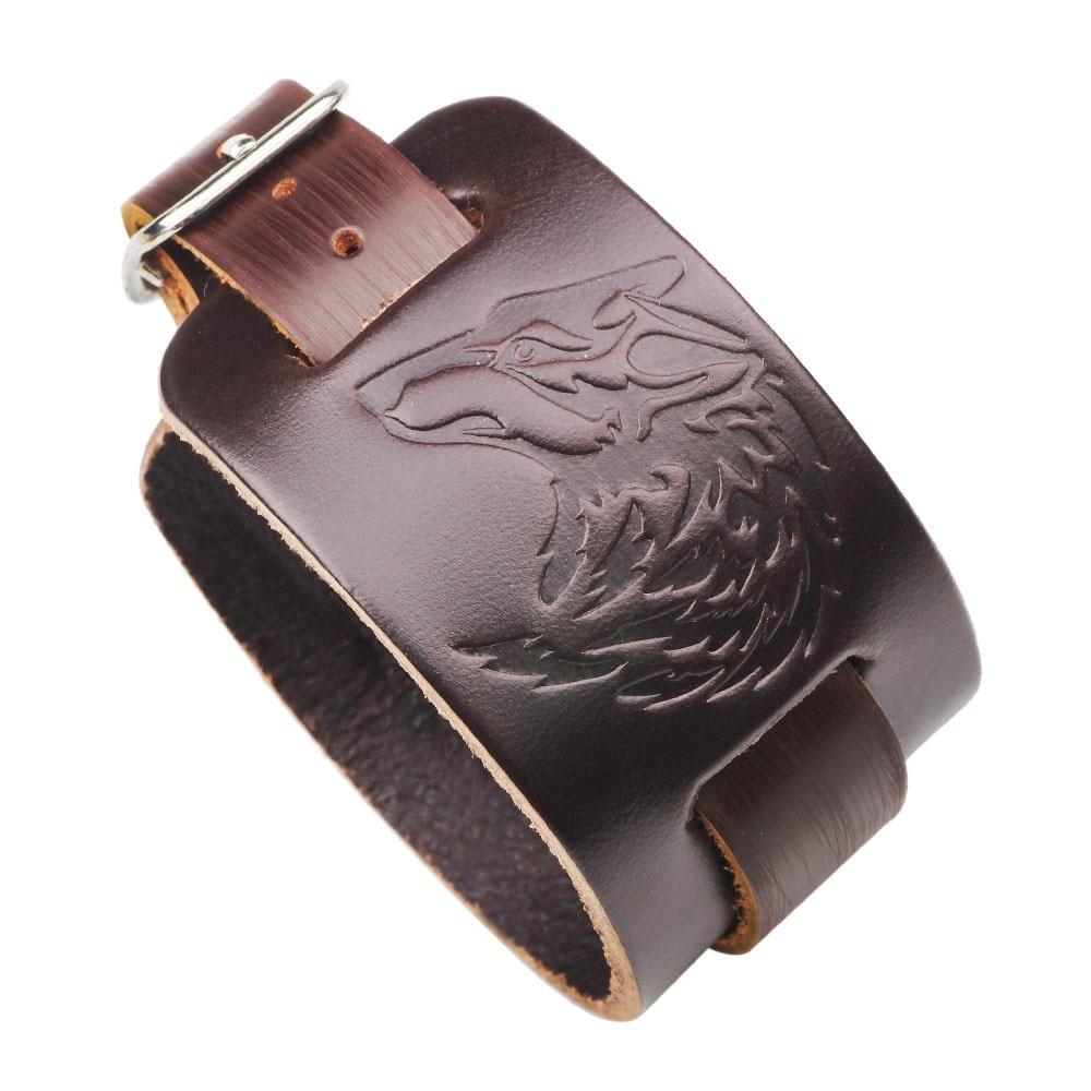 Kirykle-Bracelet manchette en cuir pour hommes, Bracelet tête de loup, ceinture large, idées cadeaux pour frère, papa, petit ami et mari (loup brun)
