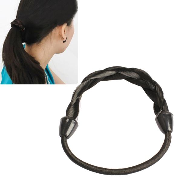 Wig Plaits Elastic Braid Rope Ponytail Hair Hairpiece Band Holder Black