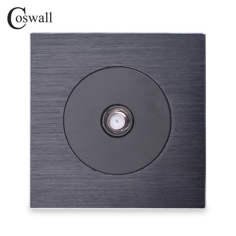 Coswall Luxurious Black Aluminum Panel Satellite Socket For Television Wall Power OutletCoswall Luxurious Black Aluminum Panel Satellite Socket For Television Wall Power Outlet