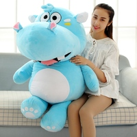 new arrival toy huge 120cm cartoon fat hippo plush toy blue hippo doll soft pillow Christmas gift w2532