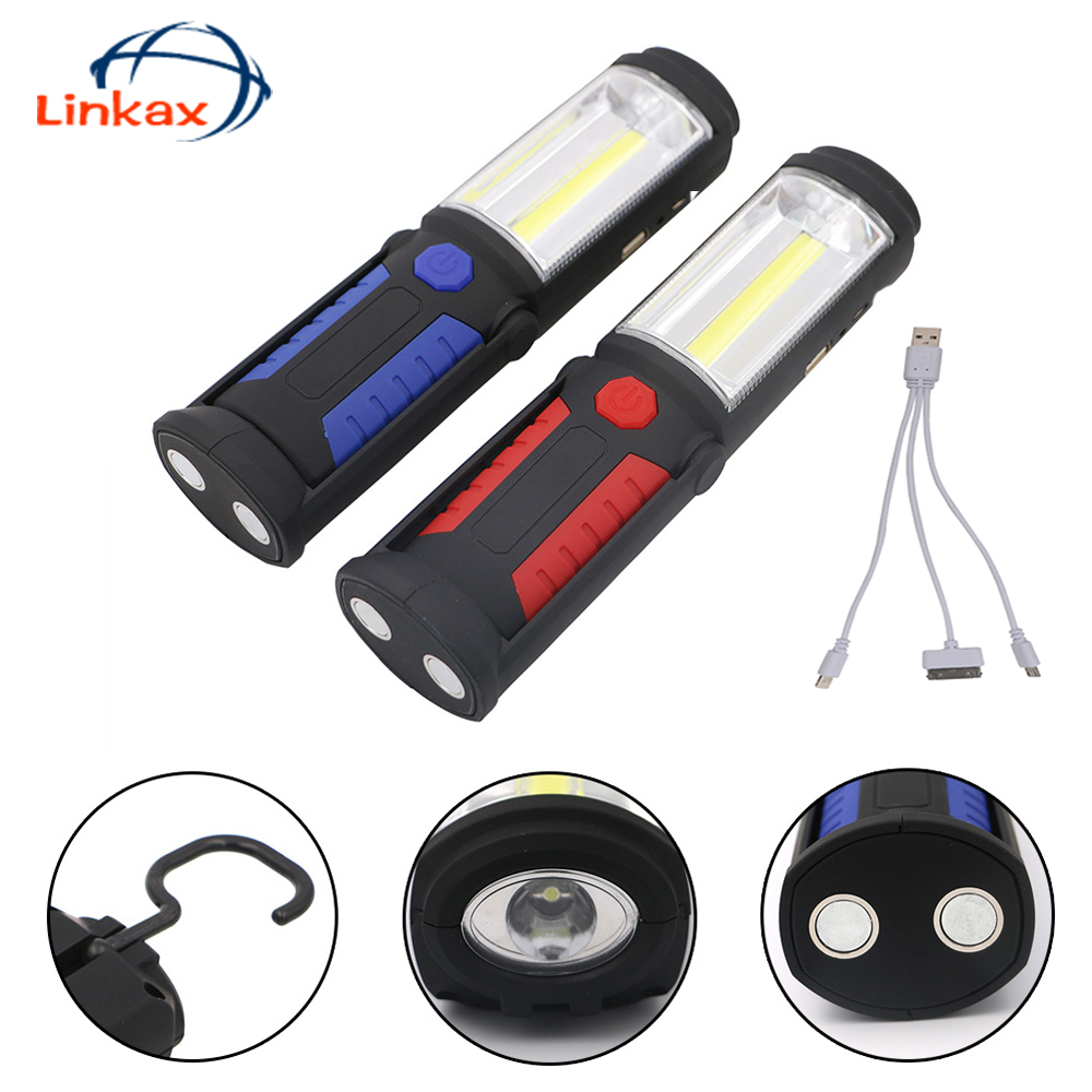 Przenośne USB Akumulator COB LED FlashLight Super Bright Pen Kieszonkowe lampy robocze Inspekcyjne lampy Magnes Torch Chip Flash Light