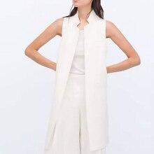 Women white black long vest coat Europen style waistcoat sleeveless jacket back split outwear casual top Roupa Female