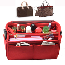 цена на Customizable Felt Insert Bag Organizer Purse Organizer Handbag Bag in Bag for Speedy Neverful (w/Detachable Zip Pocket)